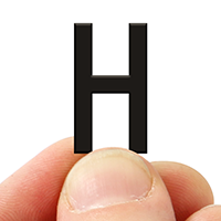 2 In. Tall Magnetic Letter H Black Die-Cut