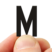 2 In. Tall Magnetic Letter M Black Die-Cut