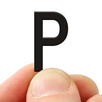2 In. Tall Magnetic Letter P Black Die-Cut