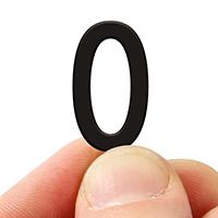 2 In. Tall Magnetic Number 0 Black Die-Cut