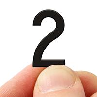 2 In. Tall Magnetic Number 2 Black Die-Cut