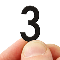 2 In. Tall Magnetic Number 3 Black Die-Cut