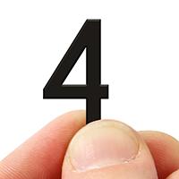 2 In. Tall Magnetic Number 4 Black Die-Cut