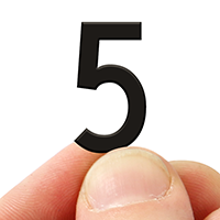 2 In. Tall Magnetic Number 5 Black Die-Cut