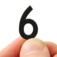 2 In. Tall Magnetic Number 6 Black Die-Cut