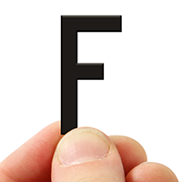 3 In. Tall Magnetic Letter F Black Die-Cut