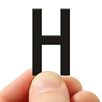 3 In. Tall Magnetic Letter H Black Die-Cut