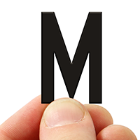 3 In. Tall Magnetic Letter M Black Die-Cut