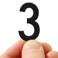 3 In. Tall Magnetic Number 3 Black Die-Cut