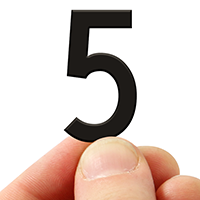 3 In. Tall Magnetic Number 5 Black Die-Cut
