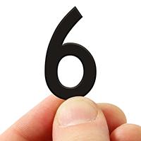 3 In. Tall Magnetic Number 6 Black Die-Cut