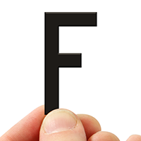 4 In. Tall Magnetic Letter F Black Die-Cut