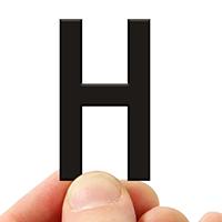 4 In. Tall Magnetic Letter H Black Die-Cut