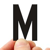 4 In. Tall Magnetic Letter M Black Die-Cut