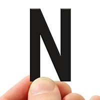 4 In. Tall Magnetic Letter N Black Die-Cut