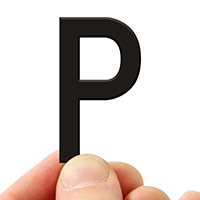 4 In. Tall Magnetic Letter P Black Die-Cut