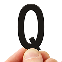 4 In. Tall Magnetic Letter Q Black Die-Cut