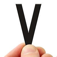 4 In. Tall Magnetic Letter V Black Die-Cut