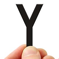 4 In. Tall Magnetic Letter Y Black Die-Cut