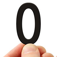 4 In. Tall Magnetic Number 0 Black Die-Cut