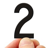 4 In. Tall Magnetic Number 2 Black Die-Cut
