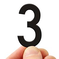 4 In. Tall Magnetic Number 3 Black Die-Cut