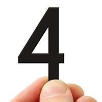 4 In. Tall Magnetic Number 4 Black Die-Cut