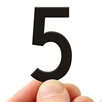 4 In. Tall Magnetic Number 5 Black Die-Cut