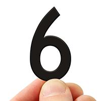 4 In. Tall Magnetic Number 6 Black Die-Cut