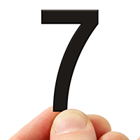 4 In. Tall Magnetic Number 7 Black Die-Cut