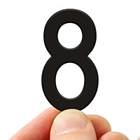 4 In. Tall Magnetic Number 8 Black Die-Cut