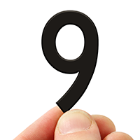 4 In. Tall Magnetic Number 9 Black Die-Cut