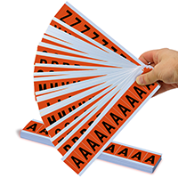 1' Mylar Numbers and Letters black on orange Azkit