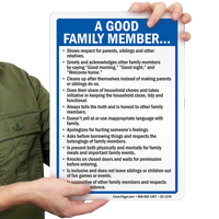 Habits of a Good Family Member Sign