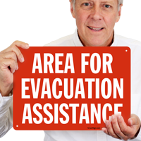Evacuation Assistance White on Red Sign