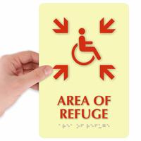 Area Of Refuge Handicapped Directional Sign