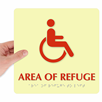 Area Of Refuge Handicapped Sign with Braille
