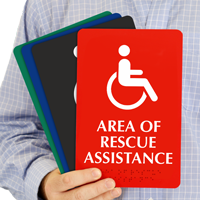 Rescue Assistance TactileTouch Braille Sign