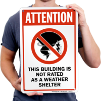 Attention Building Shelter Area Sign