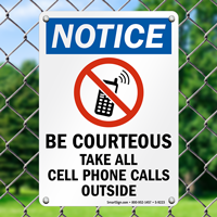 All Cellphone Calls Outside Sign