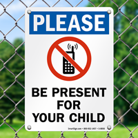 Present For Your Child No Phones Sign