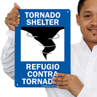Bilingual Tornado Shelter Signs