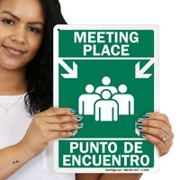 Bilingual Evacuation Point Sign