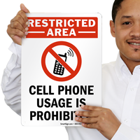 Restricted Area Phone Usage Is Prohibited Sign