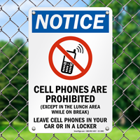 Cell Phones Prohibited Notice Sign