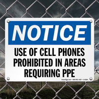 Cell Phones Prohibited In Areas PPE Sign