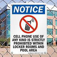 Cellphone Use Strictly Prohibited Sign
