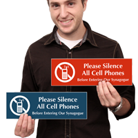 Silence All Cell Phones In Synagogue Sign