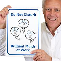 Do Not Disturb, Brilliant Minds Work Door Sign