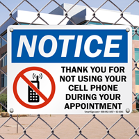 During Your Appointment No Mobile Phone Sign
